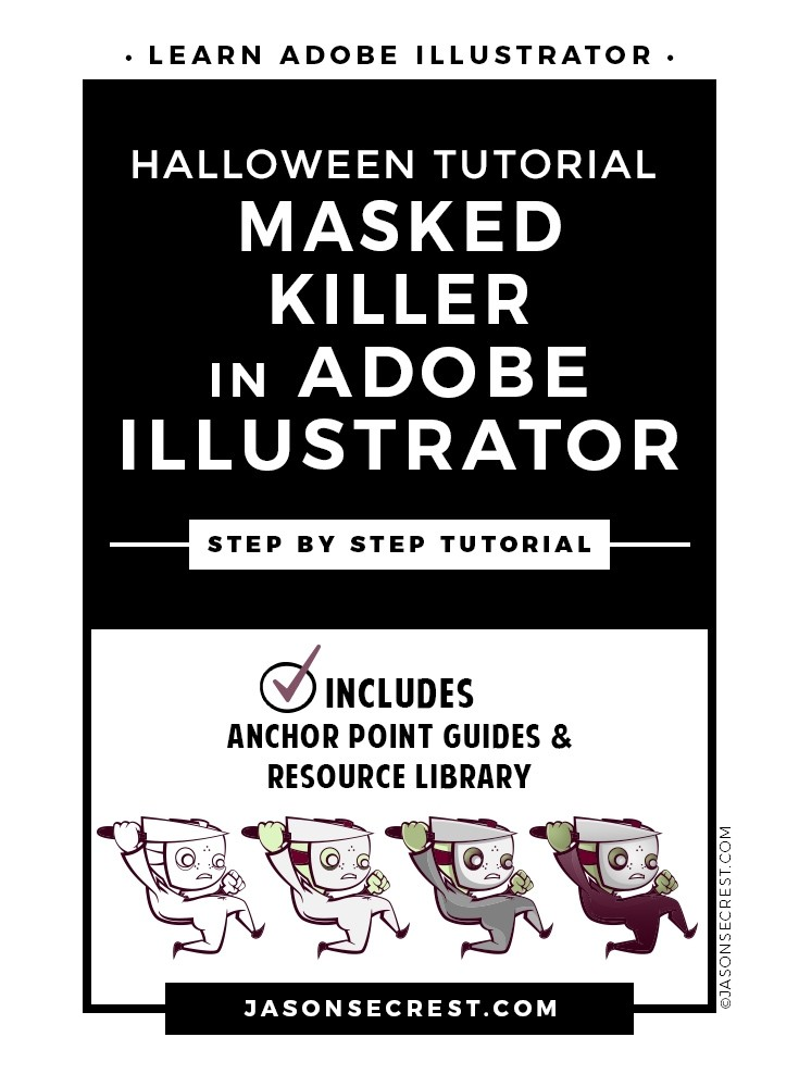 Adobe Illustrator Halloween Tutorial featuring Cute Killer Cartoon Character