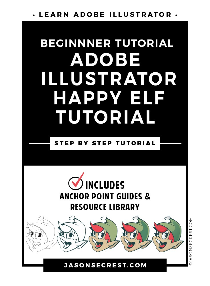 step by step adobe illustrator tutorial using a happy elf face cartoon